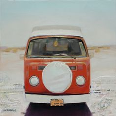 """Red Desert VW - by Jason Kowalski  I really like the """"mixed media"""" work employed in this piece.  Found this artist on the Artist a Day site where I learned he's represented by one of my favorite galleries, Meyer Gallery in Park City.  Those folks have good taste."""