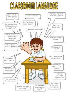 NJ English Forum : Classroom Language For You! Learn English Words, Learn English Grammar, English Lessons, English Worksheets For Kids, English Activities, Kids English, English Study, English For Students, English Teachers