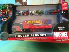 Marvel Hauler Playset SPIDER-MAN CAPTAIN AMERICA THOR Die-Cast set of 4 * Details can be found by clicking on the image.(It is Amazon affiliate link) #LoveForMarvel Thor, Captain America, Spiderman, Capitan America, Spider Man, Ox
