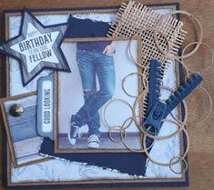 Man Birthday, Birthday Cards, Happy Birthday, Scrapbooking Layouts, Scrapbook Pages, Paper Crafts, Diy Crafts, Marianne Design, Art Journal Inspiration