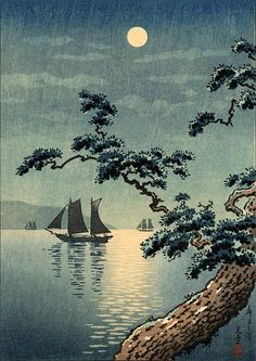 Japanese night sea ocean landscapes art Sailboats in by ArtPink