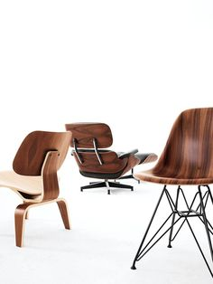 Eames: the Eames lounge chair and ottoman, molded wood side chair and the molded plywood dining chairs. Very mid-century modern and, yet, classic. Pretty. @Kristy Lumsden