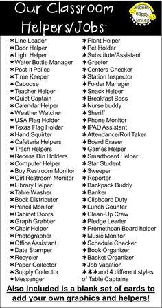 Classroom ideas 485966616037894094 - Planet Happy Smiles, Classroom Jobs, Classroom Helpers, List of Jobs Source by Classroom Helpers, Classroom Procedures, Classroom Organisation, Classroom Behavior, Classroom Activities, Future Classroom, Classroom Checklist, Classroom Job Chart, Classroom Economy