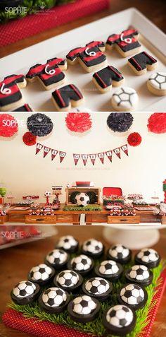 Soccer themed birthday party planning red black kids boy ball sport