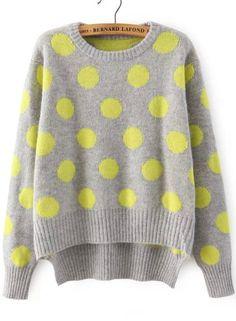Grey Long Sleeve Polka Dot Dipped Hem Sweater 28.33