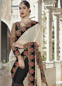 Patch Border Net Designer Half N Half Saree in Black and White Half Saree, Saree Wedding, Hot Pink, Sari, Black And White, Classic, Design, Fashion, Saree