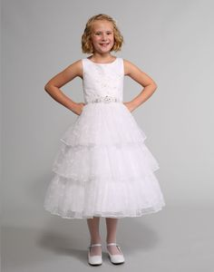 This beautiful dress by Sweetie Pie Collection features a satin bodice with a soft tulle overlay that is embroidered and has rhinestone accents. The satin skirt. White Flower Girl Dresses, Dresses For Less, Satin Skirt, Embroidered Lace, Beautiful Dresses, Lace Dress, Bodice, Tulle, Wedding Dresses