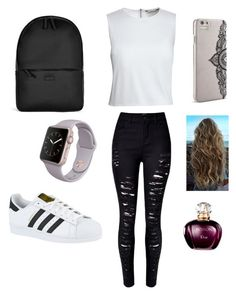 """Simple school day "" by ximenaordonez9 on Polyvore featuring Canvas by Lands' End, adidas, Rains and Nanette Lepore"