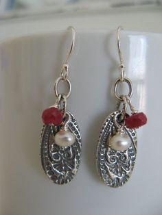 Sundance Jewelry Treasures Ruby Pearl Paisley Sterling Silver Earrings Artisan  #SundanceTreauresJewelry #DropDangle