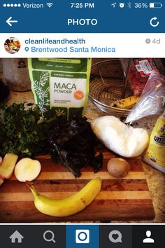 #kale #kaleshake #maca #healthyshakes #coconutshake #health #cleaneating Here is a detox shake I make about 3-4 Times a week that not only makes me feel amazing, it detoxes the body and Mind. There are two forms of Kale (purple, green) Organic Maca Powder, Organic (and local) Gala Apples, Organic Fair Trade Banana, Organic Kiwi (optional as I like to mix in various fruits depending on what is in the kitchen, organic shredded coconut, Organic Flaxseed, and last but not least and one of my…