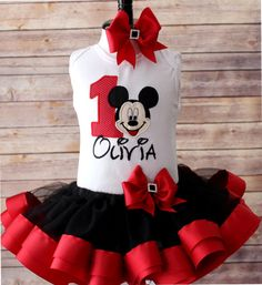 Mickey Mouse Birthday Tutu Outfit ~ Includes Top, Ribbon Trim Tutu & Hair Bow ~ Customize in any colors! Mickey Mouse Birthday, Birthday Tutu, 9th Birthday, Minnie Mouse, Tutu Outfits, Baby Outfits, Ribbon Tutu, Sheer Material, White Tank