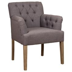 Jacky Grey Upholstered Dining Chair with wooden legs