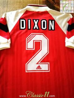Official Adidas Arsenal home football shirt from the 1992/1993 season. Complete with Dixon #2 on the back of the shirt in official flock material.