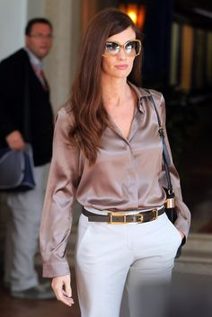 paz vega | paz vega - light brown satin blouse