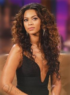 #WigsBuy - #WigsBuy Beyonce Long Curly Lace Front Synthetic Hair Wig 22 Inches - AdoreWe.com