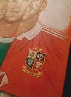 Paul O'Connell painting - next step, adding in the detail on the Lions jersey.