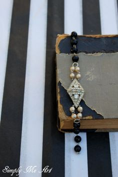 Vintage Art Deco Rhinestone Pearl and Onyx One of a by simplymeart, $70.00