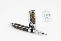 Jr. Gentleman II Rollerball with Buckeye Burl and Acrylic by WalltownCraftworks on Etsy