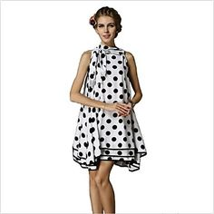 Women's Bow High Neck Casual Vintage Polka Dots Black-white Color Loose Fit A-line Dress  – USD $ 31.84