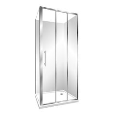 Features Low profile tray with 40mm upstand, 1950mm high glass, 6mm safety glass, Standard Polished quality metal chrome handle, 3 Panel Stacker door is reversible and can open left to right or right to left Internal slider (no door swing out means water drains back into the shower and no water on the floor) Silva finish