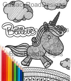 Zentangle Cute Unicorn Coloring Page Hand Drawn Download Color Black And White