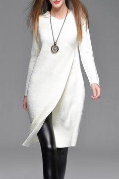 Dezzal - Dezzal Asymmetric Sweater Dress - AdoreWe.com