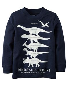 Baby Boy Long-Sleeve Glow-In-The-Dark Dinosaur Expert Graphic Tee | Carters.com