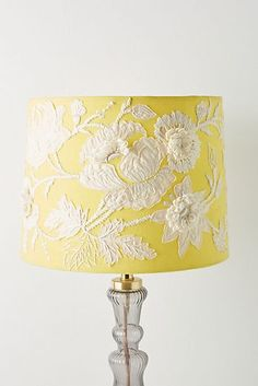 Manya Floral Lamp Shade by Anthropologie in Yellow, Lighting Yellow Lamp Shades, Yellow Lamps, Do It Yourself Decoration, Garden Lamps, Acrylic Sheets, Antique Lamps, Unique Lighting, Mellow Yellow, Yellow Cream