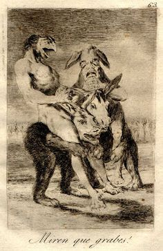 In 1799 Francisco de Goya y Lucientes (1746-1828) published a series of 80 prints called 'Los Caprichos'. In his masterly hands the aquatint etching technique cloaks the line art with subtle and varying tonal effects.
