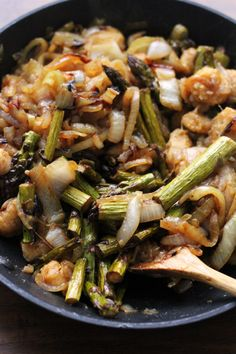 Sweet Potato Gnocchi with Balsamic-Roasted Asparagus and Caramelized Onions - Joanne Eats Well With Others