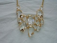 kjl crystal bib necklace cut crystal by qualityvintagejewels