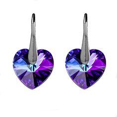 925 Sterling Silver Earrings Heart Crystals Heliotrope Swarovski Elements #Crystalmeadow #DropDangle-$12.92