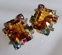 NEW ITEM - Bellarri Cleo Collection 18K Yellow Gold Diamond Citrine and Multi-Gemstone Earrings