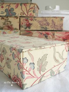 Antique French fabric covered boxes used for keeping haberdashery in. Find…