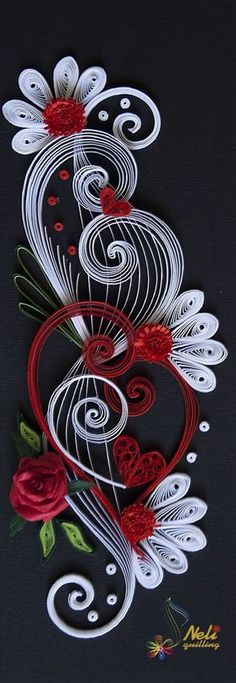 Black, red and white Neli Quilling Art: Quilling cards Neli Quilling, Origami And Quilling, Quilled Paper Art, Paper Quilling Designs, Quilling Paper Craft, Paper Crafts, Quilling Ideas, Quilled Roses, Quilling Comb