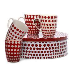 Maxwell & Williams Speckle Mug Mug Set w/ Cake Tin Red