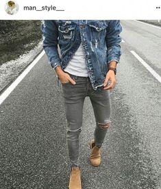 Chelsea Boots beige, grey jeans & denim jacket - All About Chelsea Boots Outfit, Chelsea Boots Beige, Mens Chelsea Boots, Grey Jeans Outfit, Grey Jeans Men, Ripped Jeans Men, Men's Jeans, Denim Jacket Fashion, Denim Jacket Men