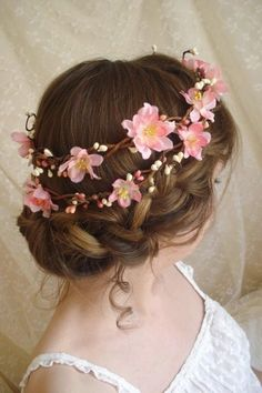 Lovely cherry blossom floral hair wreath for bride and also for the flower girls wedding bridalhair gardenparty gardenpartywedding bride garden