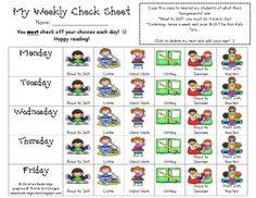 Daily 5- My Weekly Check Sheet