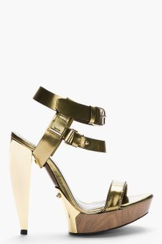 LANVIN Gold leather sculpted-heel Sandals