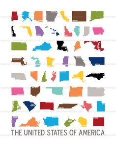 50 Nifty United States - US Silhouette Art Comes with 3 digital files.  I blank, one with state initials, one with state names.  A perfect way to help teach your children geography at home or at school.