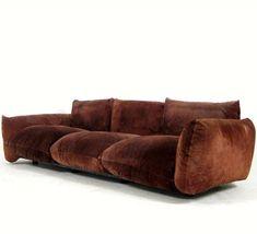 Suede Sofa by Mario Marenco for Arflex Sofa Chair, Sofa Furniture, Living Room Furniture, Furniture Design, Vintage Furniture, Couch, Suede Sofa, Interior Decorating, Interior Design