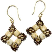 tile beads, 8/0, 11/0, and miniduos Roundabout Earrings