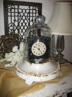 Cloche on an old lamp base http://www.junkmarketstyle.com/item/8459/its-time-for-springand-cloches #cloche #ideas
