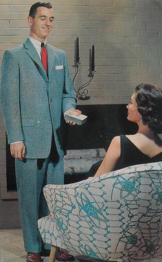 1950s Postcard Vintage Interior Man In Suit Woman On Atomic Chair Photo by Christian Montone, via Flickr