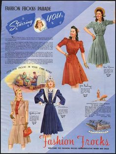 1941 Fashion Frocks ad. Like the red one ~ and the blue one.....and the tan one with red....