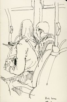 : Bus home June 2015 Bus home June 2015 Figure Sketching, Urban Sketching, Figure Drawing, Painting & Drawing, Drawing Sketches, Art Drawings, Drawing Ideas, Croquis Drawing, Pen Sketch