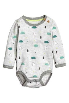Long-sleeved bodysuit: Long-sleeved bodysuit in soft, patterned cotton jersey with buttons on one shoulder and press-studs at the crotch.