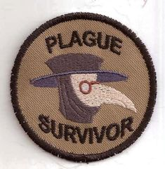 plague survivor merit badge, available on etsy from storiedthreads.