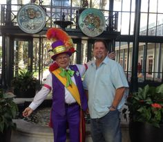 Here's Dan in the French Qtr lobby with the friendly, colorfully-dressed doorman.